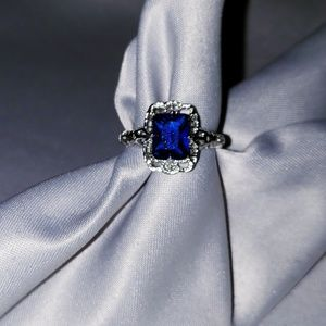 STERLING SILVER (faux) Sapphire Ring